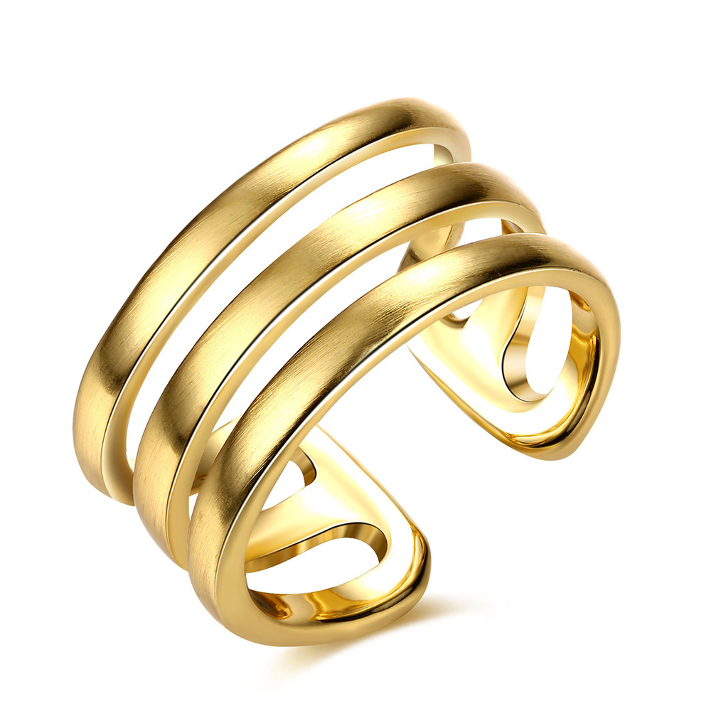 Rhao Indian Jewelry Mens Gold Birthday Gift Hollow Simple Rock Puck Finger Rings For Women And