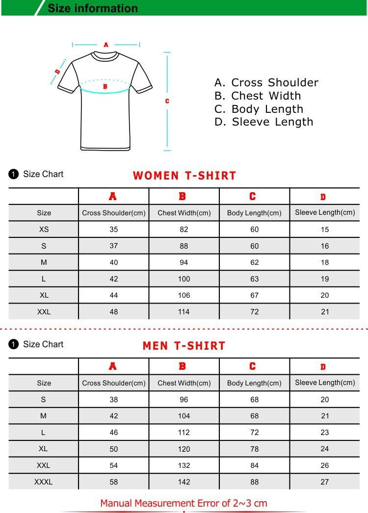 t shirt size
