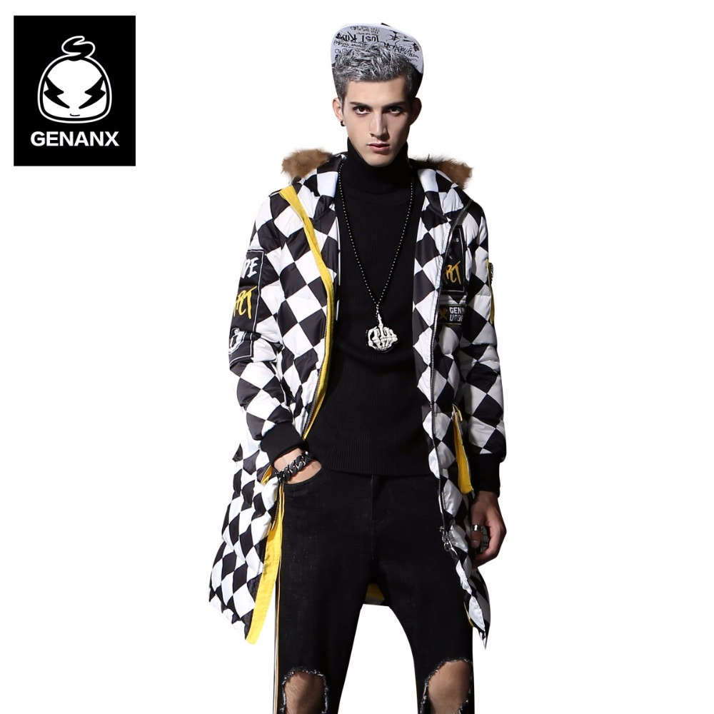 Genanx Brand Long Style Down Coat Men Hooded Fur Collar White Duck Down Coats Man Winter Thick Coats Couple Style Size M-XXL