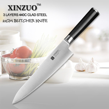 XINZUO 8 inch butcher knife 440C clad steel kitchen knife chef knife sharp vegetable knife homely tool G10 handle free shipping