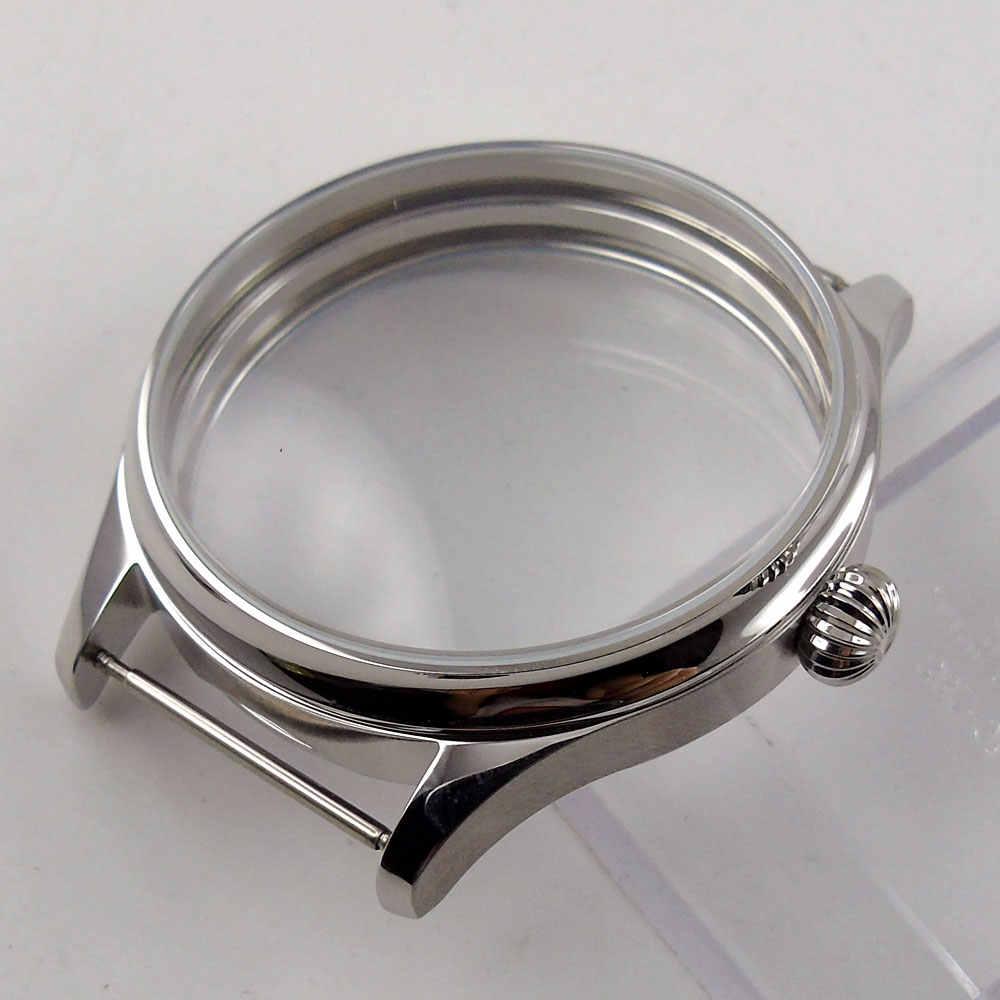 BLIGER 44MM נירוסטה כסף צבע סטרילי שעון מקרה Fit עבור ETA 6497 6498 יד מתפתל תנועה C67
