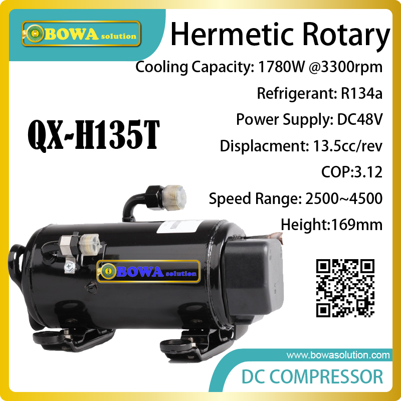 DC48V, R134a, hermetic and horizontal rotary compresssor suitable kinds of refrigerator and freezer units and equipments 1305w cooling capacity freezer compressor r134a suitable for stainless steel undercounter and kitchen equipments