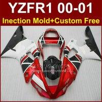 YZF R1 00 01 литья под давлением для мотоциклов Обтекатели для Yamaha YZFR1 красный белый комплект обтекателей 2000 2001 YZF 1000 части тела + 7 подарки