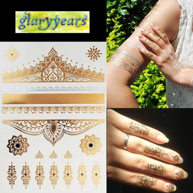 1PC Hot Flash Metallic Waterproof Temporary Tattoo Gold Silver Men Women Henna GH-13 Lace Hearts Royal Design Tattoo Sticker