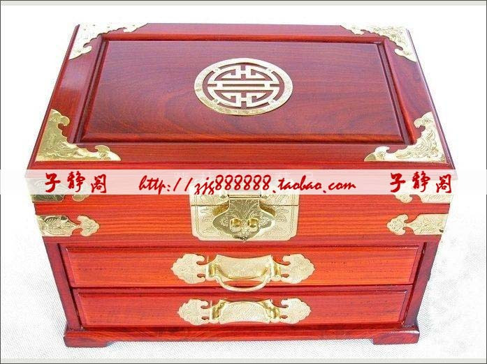 box wedding gift mahogany treasure box makeup mirror Large lock ...