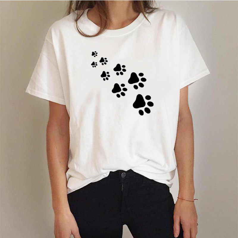 67fde08ce cat paws print Women tshirt Cotton Casual Funny t shirt For Lady Top Tee  Hipster gray