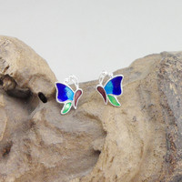 Blue Butterfly Earing Cloisonne Enamel Jewelry 999 Sterling Silver Earings Chinese Handmade Stud Earrings For Women Ear Tips