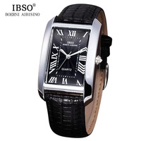 IBSO Mens Watches Top Brand Luxury Genuine Leather Strap Classic Design Quartz Watch Men Relojes Hombre 2018 Relogio Masculino