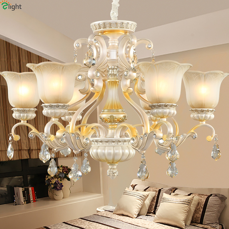 Europe Lustre Crystal Led Chandeliers Lighting Resin Living Room Led Pendant Chandelier Lights Dining Room Hanging Light Fixture vintage birdcage crystal chandelier lighting black rustic bird cage pendant hanging light chandeliers lamp for dining room bar