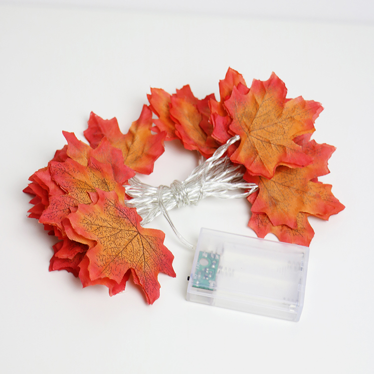 Autumn Maple Leaves Garland LED Fairy String Light, AA Battery Holiday Party Light ,flower Arrangement For New Year Decorations