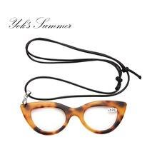 d85326bf97 YOK'S Mini lunettes de lecture oeil de chat léopard collier maquillage loupe  lunettes presbytes Diopters 2.0 2.5 3.0 WN1004