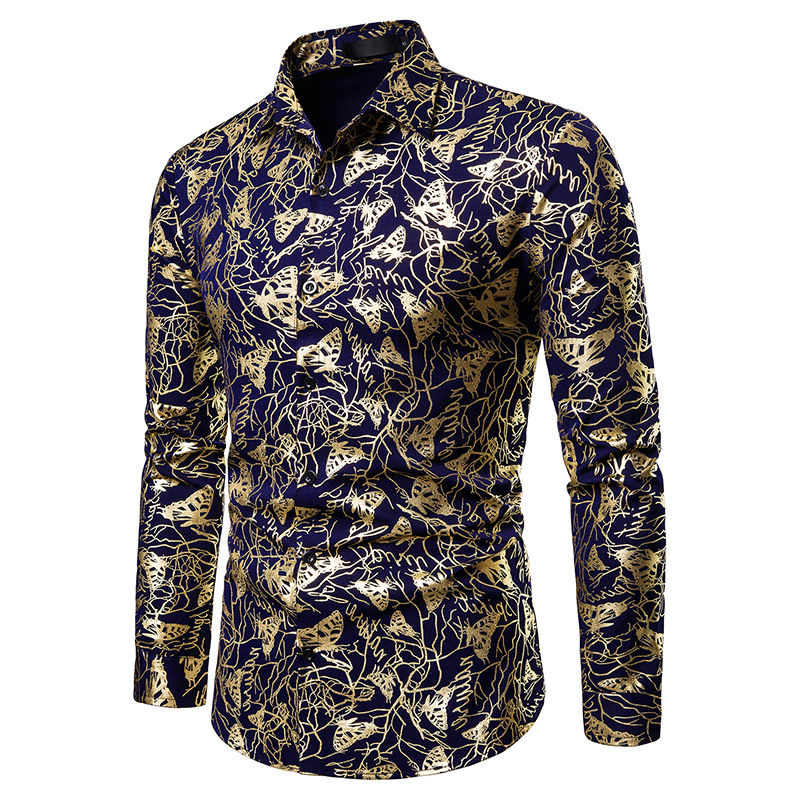 2019 fashion Men autumn Bronzing printed Slim Long Sleeve shirt fashion Wedding Party male Casual Dress Shirts Chemise Homme(China)
