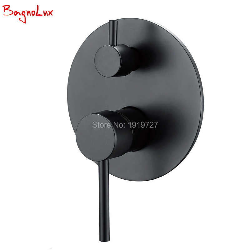 Bagnolux Rough-in Valve Single Handle Concealed Control Round Style 1/2 Inch IPS Connector Matt Black Wall Bath Shower Mixer bagnolux all brass bathroom valve single handle concealed shower system control square 1 2 ips connector matt black wall mixer