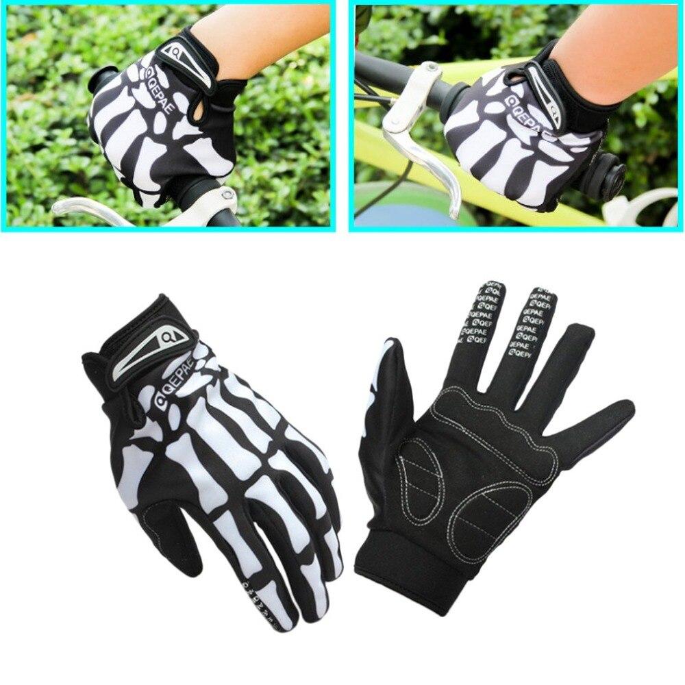 Riding Gloves Windproof Bicycle Riding Gloves Skeleton Bone Design Slip-resistant Full Finger Gloves For Biking Climbing