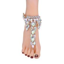 Fashion Boho Style Rhinestone Anklet Gypsy Statement Feet Fine Jewelry Gifts For Women M8694