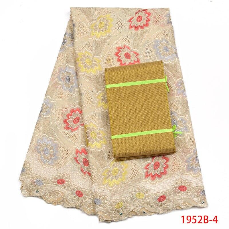 2018 de Haute Qualité Africaine Tissu Dentelle Avec Aso Oke Africaine Français Belle Coton Tissu Avec Des Pierres Pour Ouate AMY1952B-1
