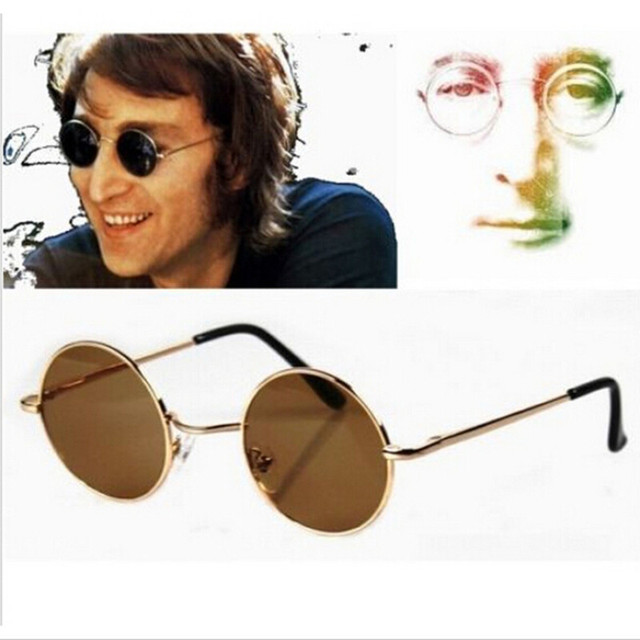 441a425b46f 2 colors Hippies Retro Round Vintage Style John Lennon Wearing UV400  Sunglasses Hippy Steampunk