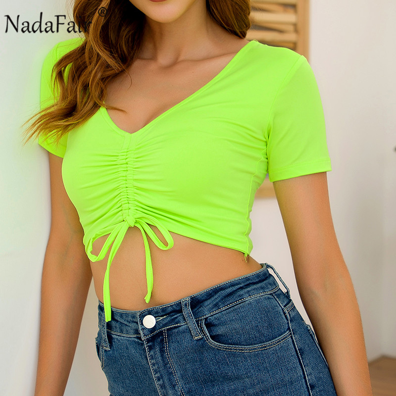 Nadafair Short Sleeve V Neck Summer Sexy <font><b>T</b></font> <font><b>Shirt</b></font> Women Ruched Lace Up Neon Tops Female Clothes 2019 Crop Tops image