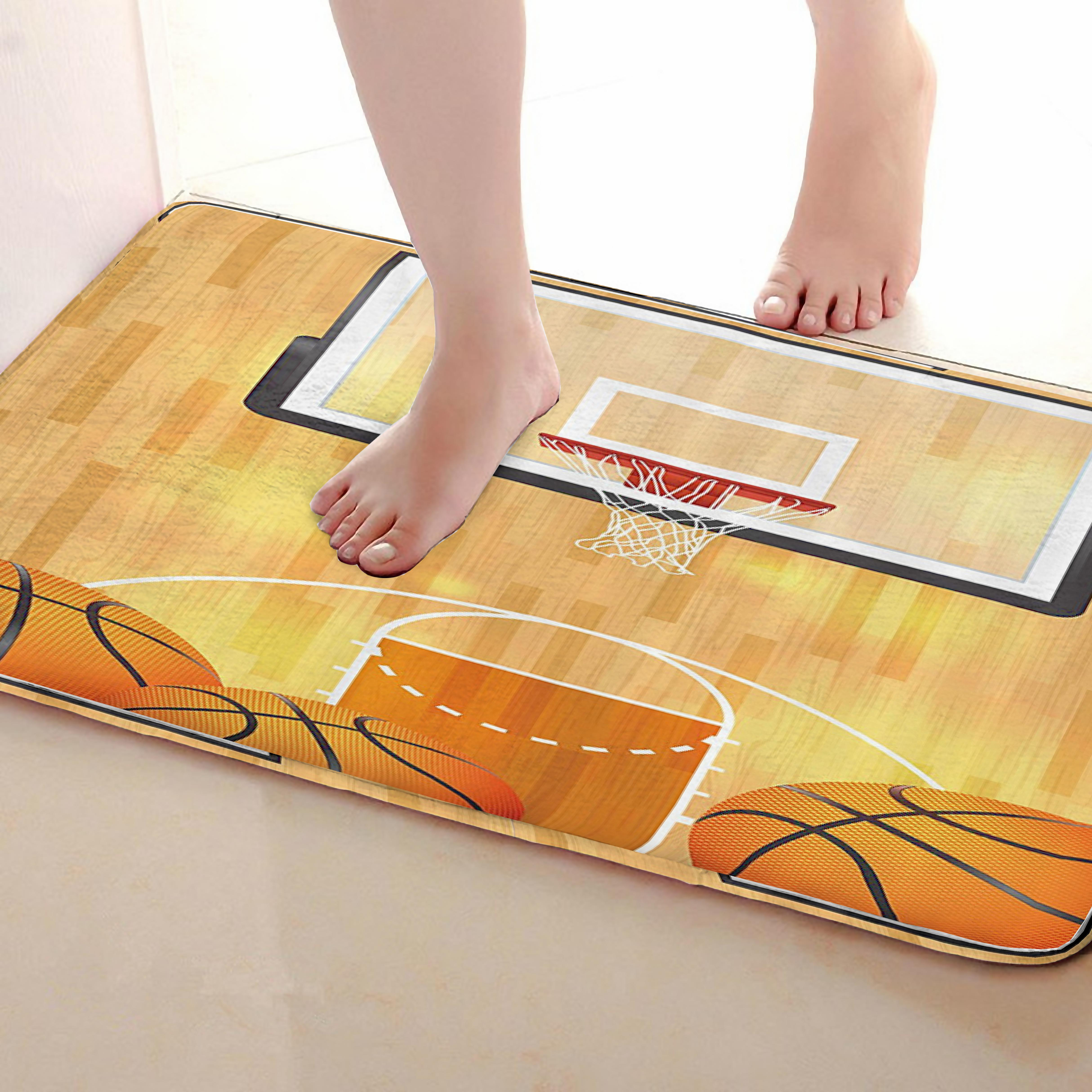 Basketball court Style Bathroom Mat,Funny Anti skid Bath Mat,Shower Curtains Accessories,Matching Your Shower Curtain