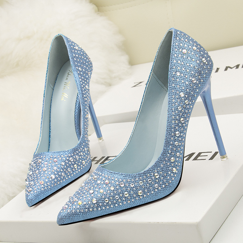 2019 mode Sexy femmes pompes strass chaussures de mariage femme plate-forme cristal talons hauts 11 CM soirée chaussures zapatos mujer