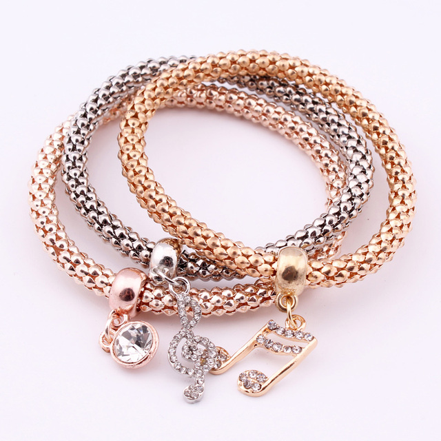 Hot 3pcs Set Crystal Music Bracelets Rhinestone Charm Gold Color Heart Party Jewellery Bangles For
