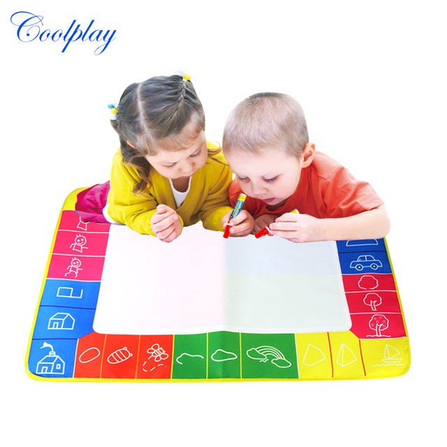 1 Pcs Magic Doodle Painting Mat with 2 Magic Pen Non-toxic 4 colors Environmental Perfect travel toys to kids 72X49cm 1325-2