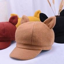 Cartoon Cat Ear Octagonal Hats For Women Autumn Winter Ladies Caps Casual Hariy Berets Hat Gorra Women Newboy Cap Solid Color стоимость