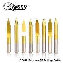 XCAN 10 шт. 30/40 градусов V Форма PCB гравировальные биты Карбид ЧПУ Концевая фреза плоское дно фреза 3D фреза
