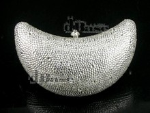 7744Z Crystal MOON Lady fashion Bridal Wedding Night silver Metal Evening purse clutch bag case handbag box