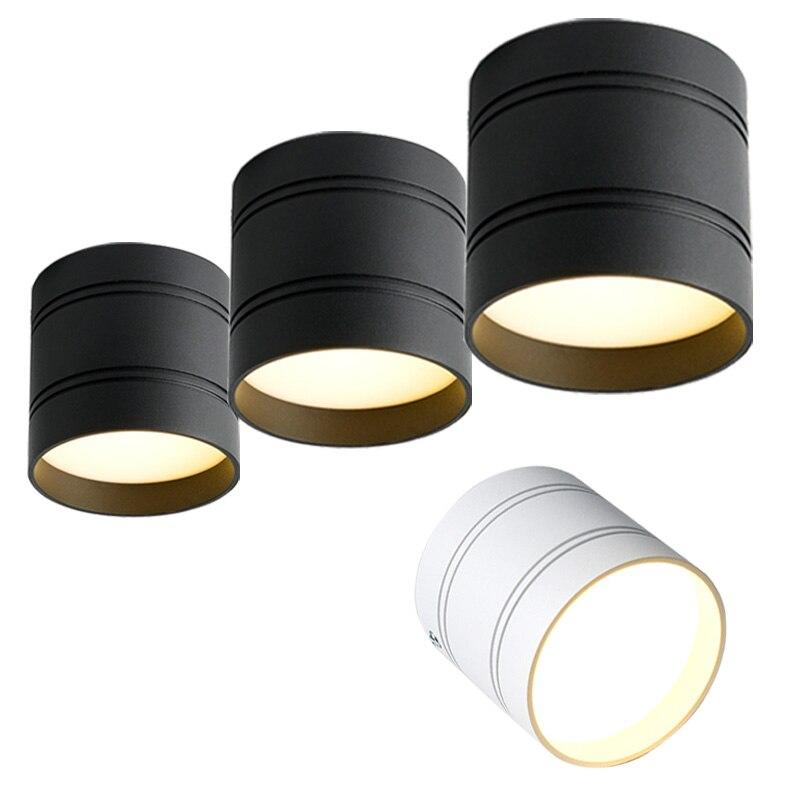Dimmbare LED Downlight 3W 5W 7W 9W 12W 15W 18W Weiß/Schwarz gehäuse Oberfläche Montiert AC220V Decke Spot Licht Home Deco