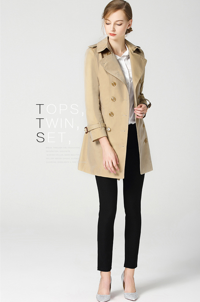 High quality women 39 s england style double breasted trench coat 2018 autumn dust coat women D339 in Trench from Women 39 s Clothing
