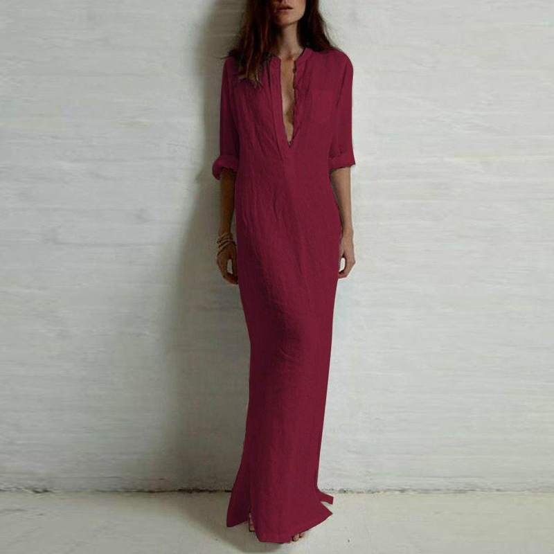 5XL Plus Size CUERLY 2019 Spring Fashion Women Sexy Casual Shirt Dress Long Sleeve Deep V Neck Split Solid Long Maxi Dress in Dresses from Women 39 s Clothing