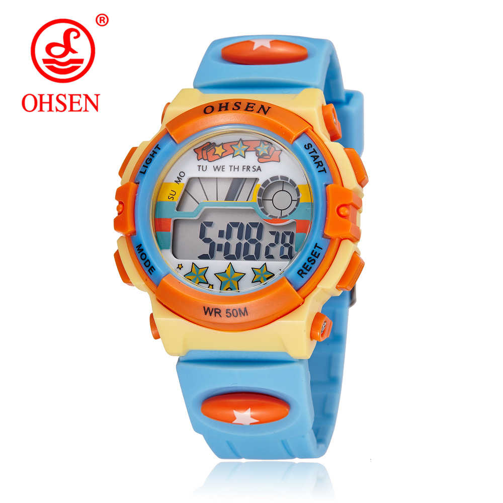 OHSEN Original Brand Children Boys Digital LCD Wristwatch Light Blue Silicone Band Kids Electronic 50M Waterproof Sports Watches