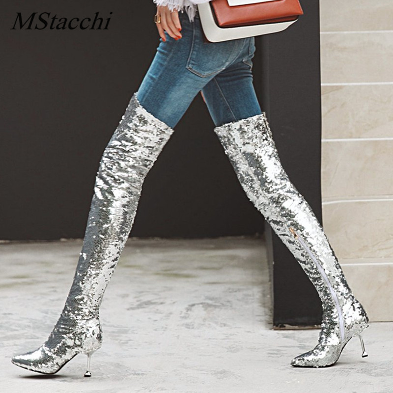 MStacchi Autumn Winter High Heels Sexy Over The Knee Boots Gold Silver Knight Boots Glitter Bling Bling Women Nightclub Boots