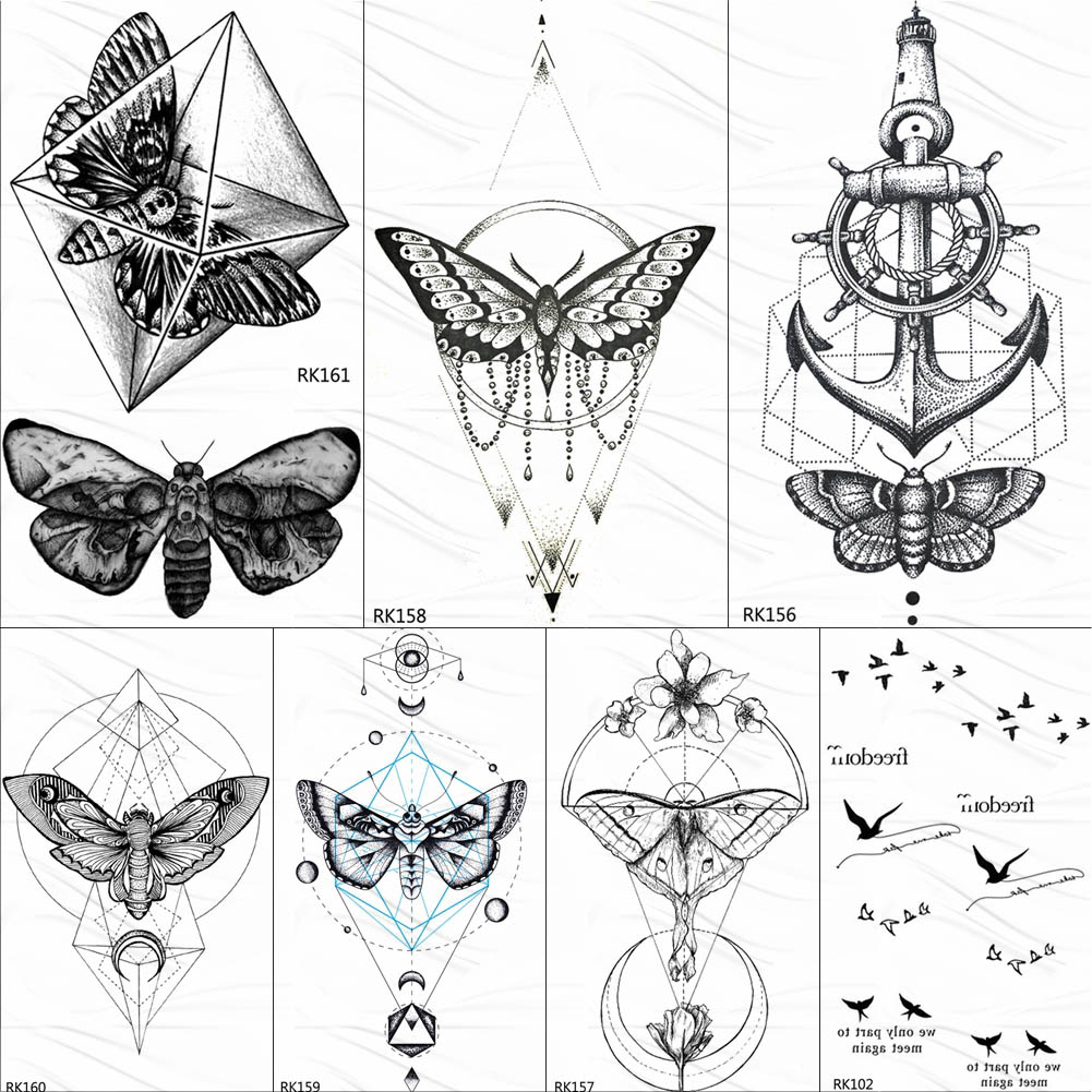 OMMGO Geometric Butterfly Moth Pendant Temporary Tattoos Sticker Anchor Diamond Circle Rhombus Tatoos Body Art Black Fake Tattoo