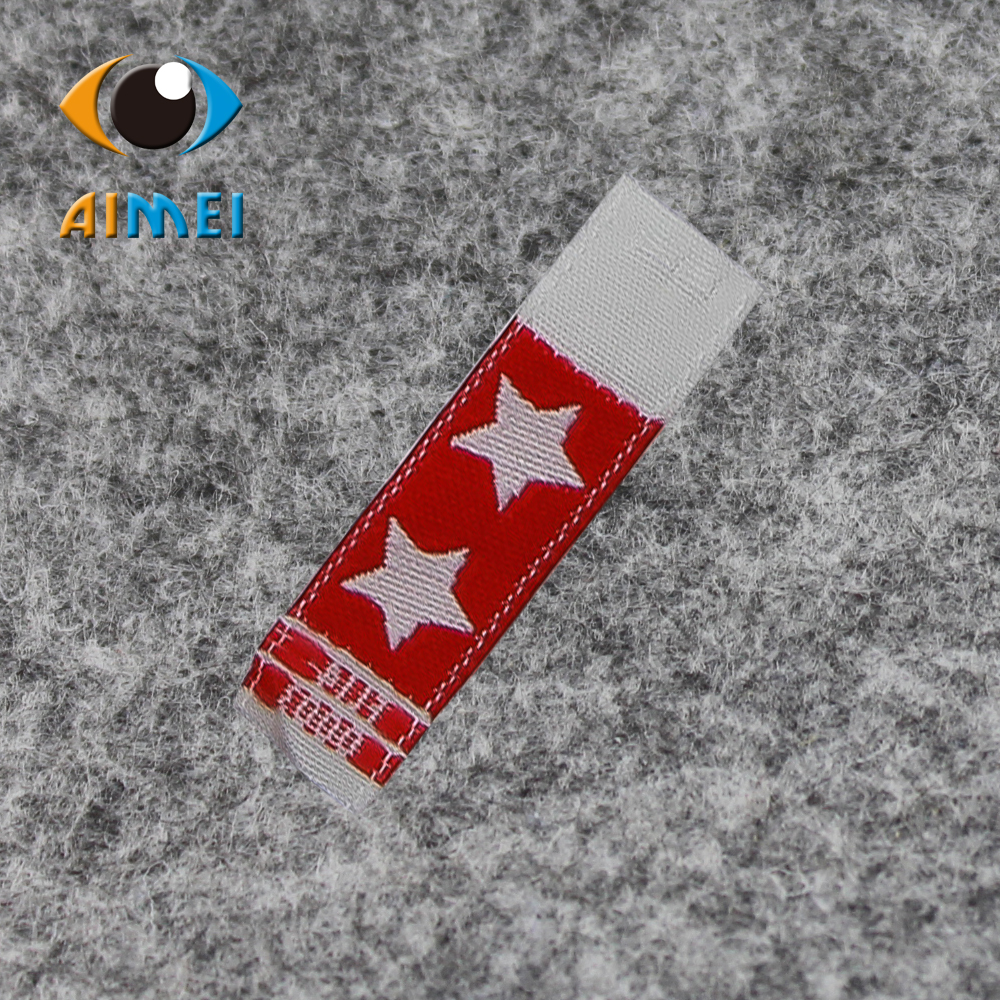 Customized High density woven labels with super sonic cut edge for textile Garment tags shoes accessories