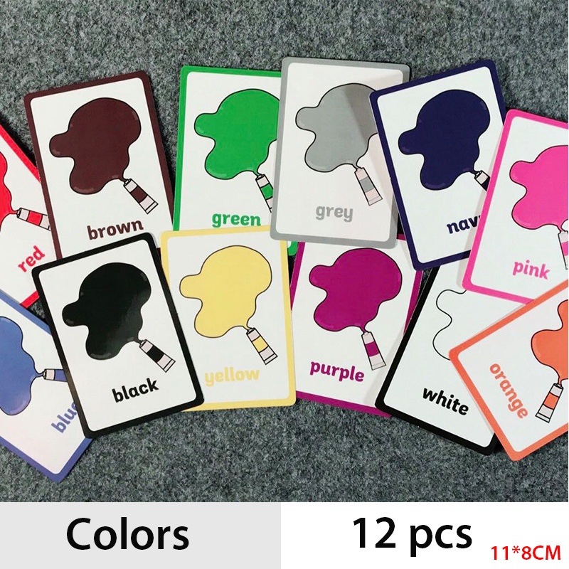 12 Pcs/Set Colors And Shapes  English Word Pocket Flash Card Children Cognitive Cards Early Educational Toy
