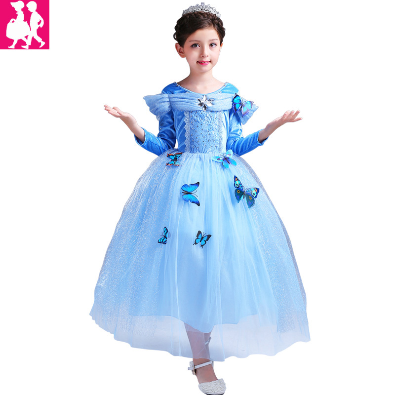 2018 Girls Dresses elsa dress costumes kids Cosplay party Dress princess anna dresses elza vestidos infants for children snow