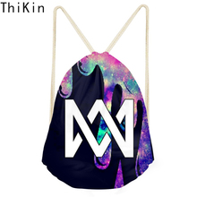 THIKIN Women Drawstring Backpack Marcus and Martinus Design Custom Logo Backpack Reversible Kids Shoulder Bag Sacos De Mujer