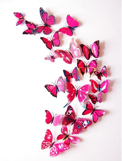 Pcs D PVC Wall Stickers Magnet Butterflies DIY Home Decor - Butterfly wall decals 3dpvc d diy butterfly wall stickers home decor poster for kitchen