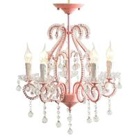 Nordic Princess Romantic Pastoral Restaurant Bedroom Entrance Room Wedding Room Pink Girl Children Crystal Chandeliers.