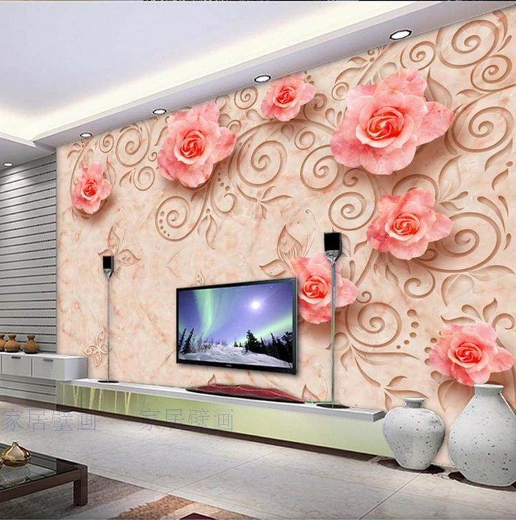 Continental custom tile mural marble reliefs rose 3d 3D wallpaper the living room sofa bedroom TV backdrop 3D wallpaper Videos large custom 3d wallpaper mural 3d wallpaper 3d stereoscopic rose pink flowers living room bedroom tv backdrop box