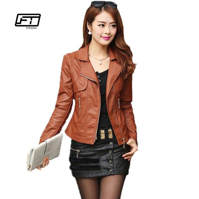 Thời trang Autumn Nữ Pu Leather Jacket Slim Motor Outwear Coat dây khóa kéo Roupas De Couro Femininos Cộng Với Kích Thước 4XL Thanh Lịch Punk áo