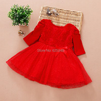 Retail 2015 Baby Girls Dress Children Clothing Cotton Ball Gown Baby Dress Kids Bow Lace Party