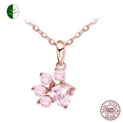 Cute Cat Paw Rose Necklace Sterling Silver Pink Crystal Bear Dog Paw Neckace Animal Paw Pendant Necklaces Wholesale Gift ZK30