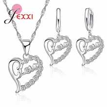 Necklace 925-Sterling-Silver Earring Jewelry-Sets Pendant Chain-Choker Heart Cheap Lever