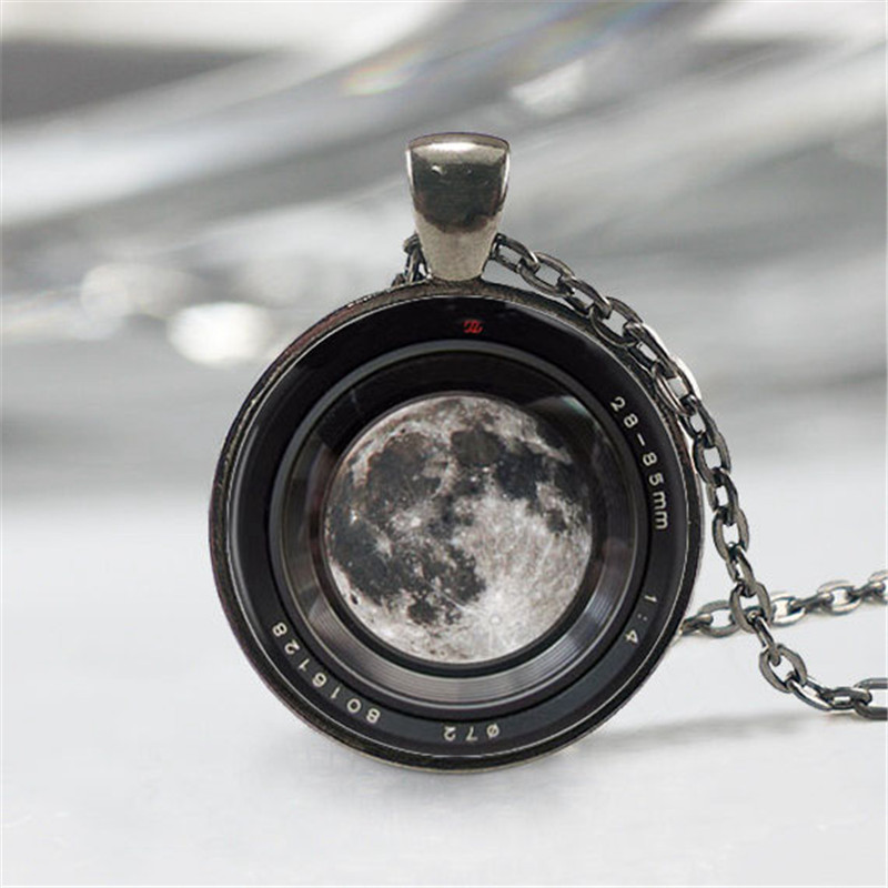 Moon in a Camera lens Necklace