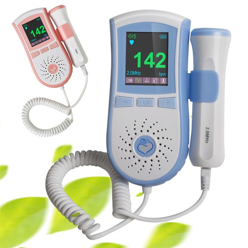 2 mhz/3 mhz Sonde Pocket Foetal Doppler Cardiaque Prénatal Bébé Moniteur Cardiaque Double Interface Couleur LCD Affichage Bateau de USA