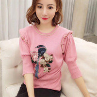 2018 New Spring Summer Embroidery T Shirt Women Half Sleeve Sweater Bird Rose Pattern Knitted Tee Pink