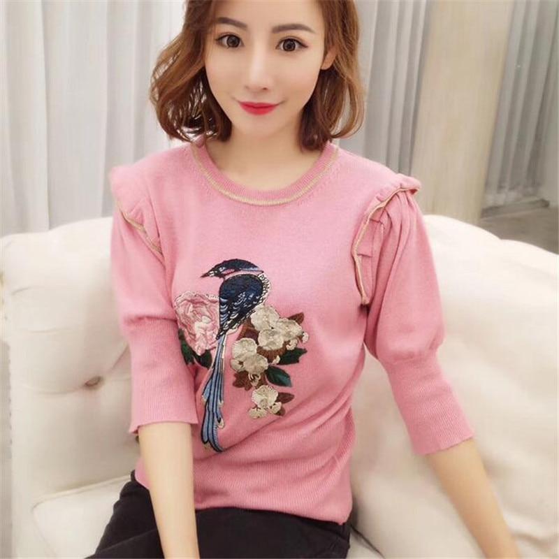 2018 nouveau printemps été broderie t-shirt femmes demi manches chandail oiseau Rose motif tricoté t-shirt Rose